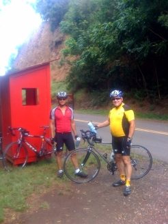 Rick, in red, and Bobby, in TDF yellow, were our expert and enthusiastic guides.