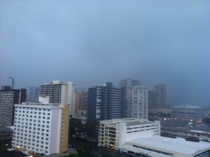 It's raining all over Hawaii. This is looking toward Waikiki.