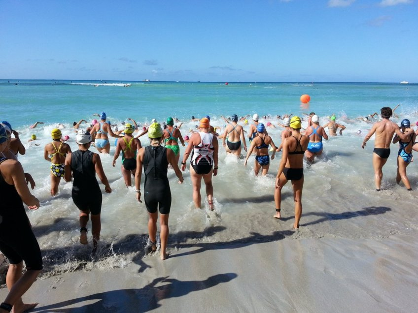 I hang back during a beach launch because it's crazy out there. New Road ID tri top worked really well.