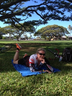 Relaxing after Saturday's training with Try Fitness Hawaii.