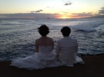 Japanese newlyweds at Magic Island watching the sunset.