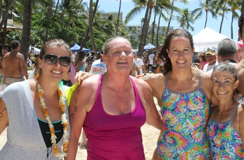 """Kristin, Paula, Sonya, Yvette. Kristin and Yvette are training for Ironman Kona. This was a good workout for them. As you can see, I'm like, """"PHEW!"""""""