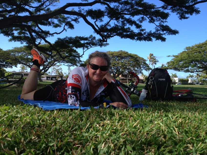 Right before the Na Wahine Sprint Triathlon last month. Just an ordinary gal who works out.