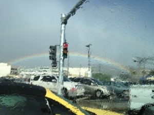 When in Hawai'i and driving in the rain, and sitting at the stop lights, enjoy the rainbows.