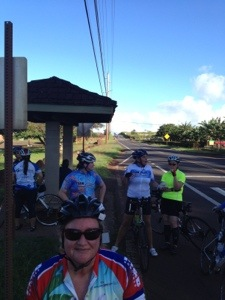 At the bus stop across from Dole Plantation, after our climb up Pineapple Hill. Boo-Yah!