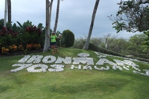 The day before the race John shot a photo of me with the Ironman rocks at the entrance of the Fairmont Orchid Hotel. Eager and anxious.
