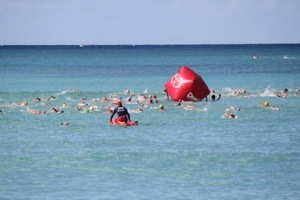 No matter how big a buoy is, I have a hard time spotting them while swimming.