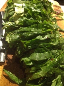 Rolled and sliced chard.
