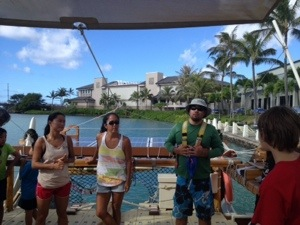 Crew members talk about life on the Hokule'a.