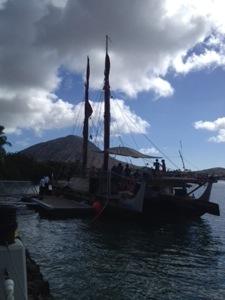 Hokule'a docked in Koko Marina. Koko Crater in the distance.