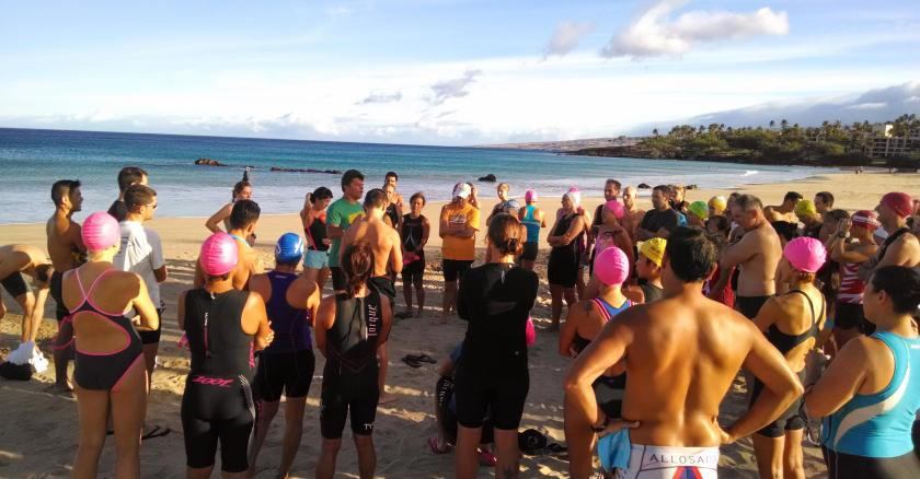 Getting briefed by Raul Torres before our morning swim in Hapuna Bay.