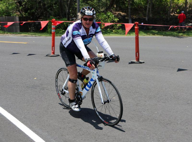 Honu 2014 finishing the bike and telling John how I'm worried I won't finish in time.