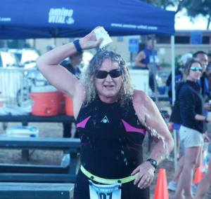 After I brought down the bike rack in the Boca Hawaii Lanikai Triathlon. I always do this little cup shower thing. Mahalo, Edna, for the photo.