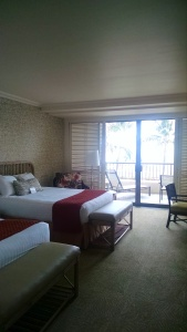 My side of the room. Love the beds at the Hapuna Prince Hotel!