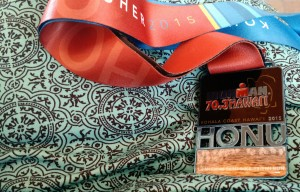 Ironman 70.3 Hawaii Honu 2015 finisher medal.