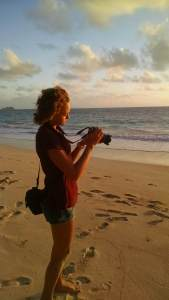 Sophie shooting in Waimanalo at dawn.