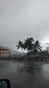Leaving the hospital while tropical storm Ignacio swept through the Islands.