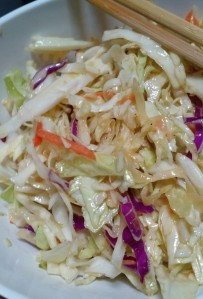 Refreshing ginger slaw is the best because of what it doesn't have.