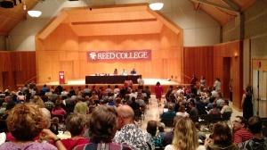 Parent information meeting in Kaul Auditorium.