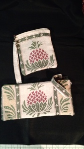 Pineapple zip purses from a tea towel.